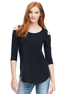 Langes Cold Shoulder-Shirt aus Baumwoll/Modalmix