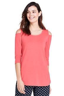 Langes Cut-out-Shirt aus Baumwolle/Modal für Damen