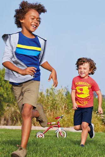 Little Boys Chest Stripe Slub T Shirt
