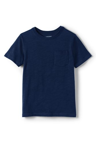 LANDS' END  ランズエンド【ランズエンド LANDS' END】ボーイズ・スラブ・ポケットT/半袖/110/ブルー