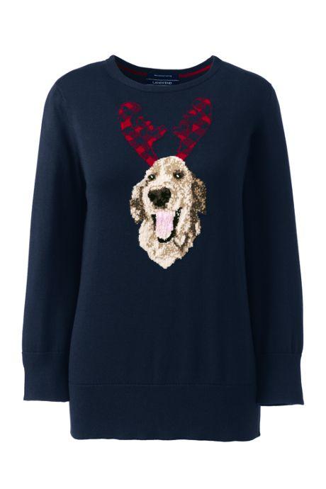 Women's Plus Size 3/4 Sleeve Supima Cotton Sweater