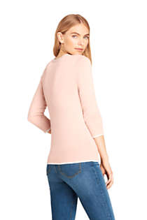 Women's Petite 3/4 Sleeve Supima Cotton Sweater, Back
