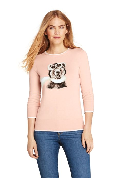 Women's 3/4 Sleeve Supima Cotton Animal Sweater