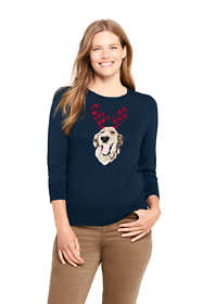Women's Petite 3/4 Sleeve Supima Cotton Animal Sweater