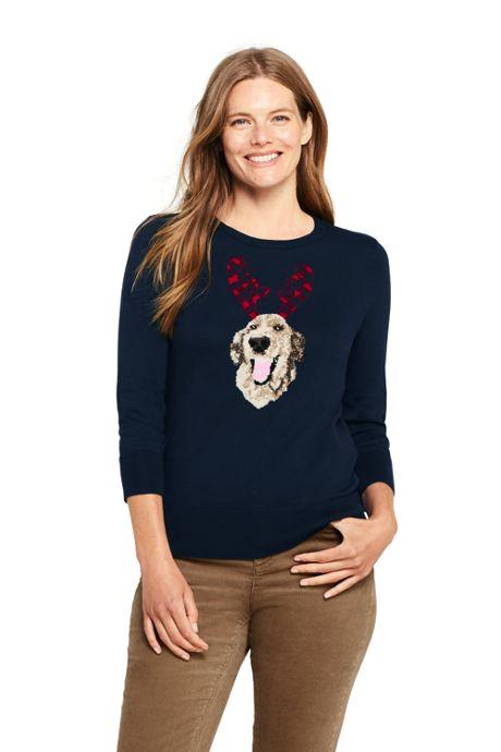 Women's Petite 3/4 Sleeve Supima Cotton Sweater