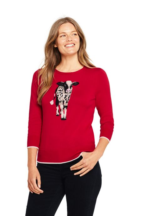 Women's Tall 3/4 Sleeve Supima Cotton Animal Sweater