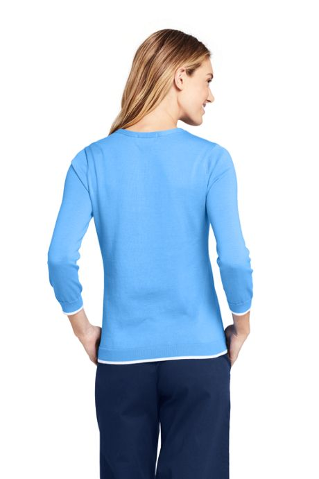 Women's Petite 3/4 Sleeve Supima Cotton Sweater