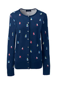 Women's Petite Supima Cotton Long Sleeve Cardigan Sweater - Print