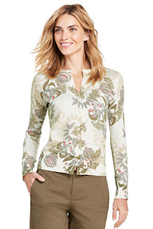 Women's Supima Print Crew Neck Cardigan