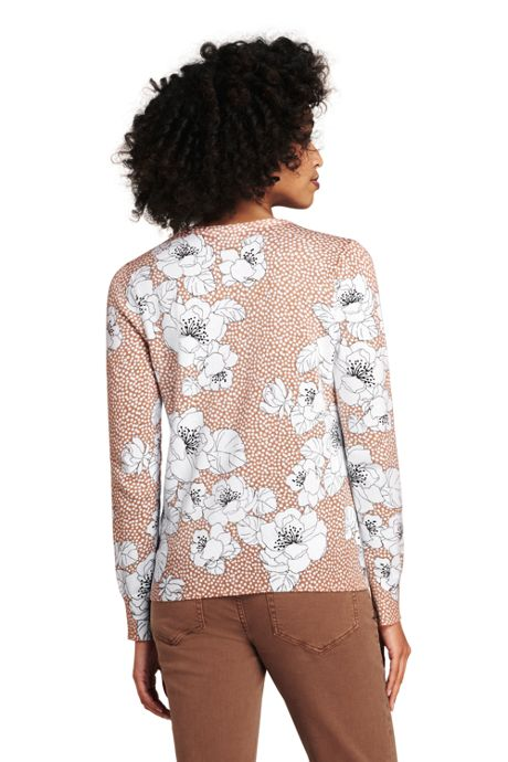 Women's Tall Supima Cotton Long Sleeve Cardigan Sweater - Print