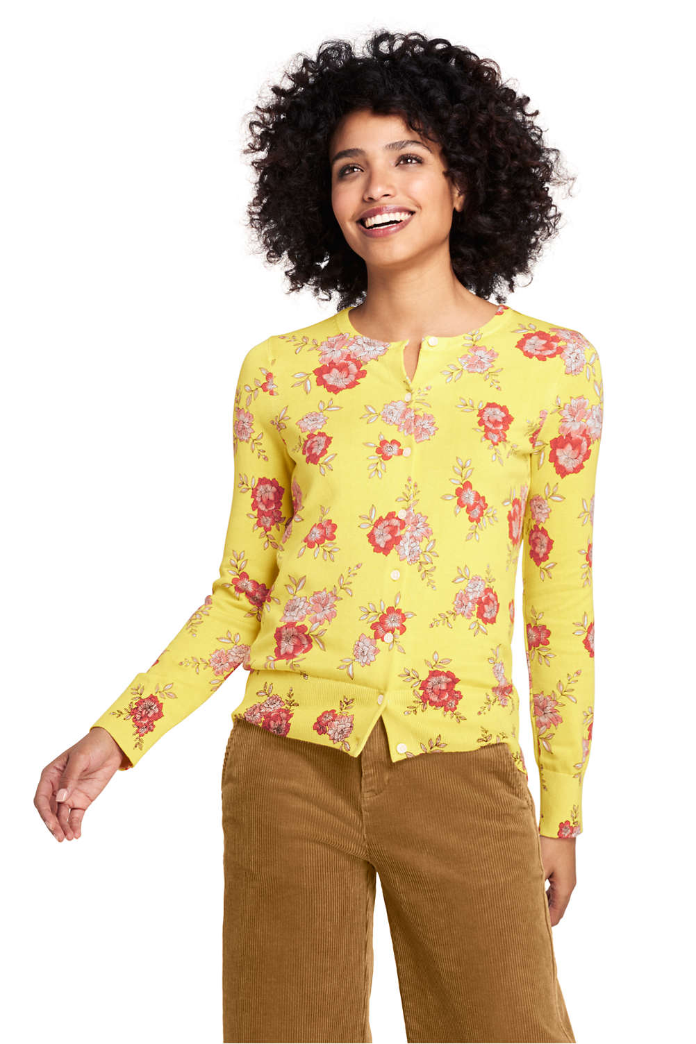 79457bc1055 Women's Supima Cotton Long Sleeve Cardigan Sweater - Print from Lands' End