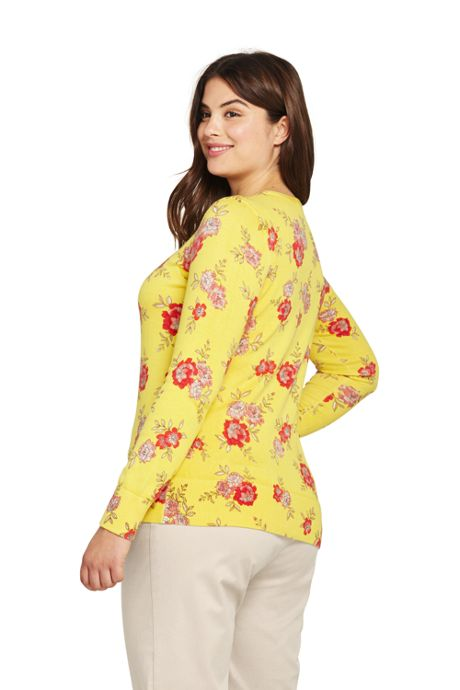Women's Plus Size Supima Cotton Long Sleeve Cardigan Sweater - Print