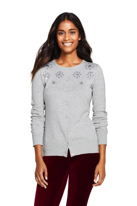 Women's Tall Supima Cotton Embellished Cardigan Sweater
