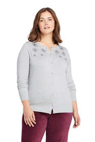 Women's Plus Size Supima Cotton Embellished Cardigan Sweater