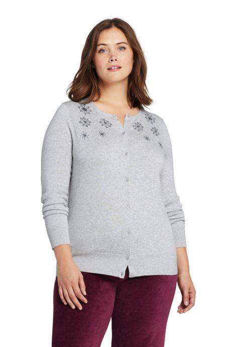 Women's Plus Size Supima Cotton Embellished Cardigan Sweater