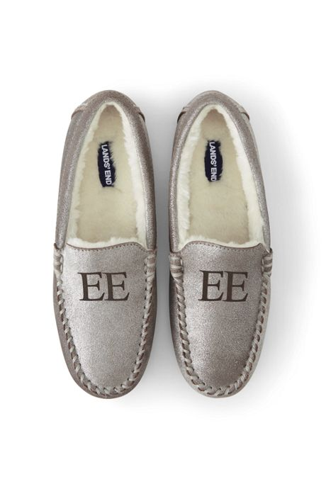 Women's Metallic Suede Leather Moccasin Slippers