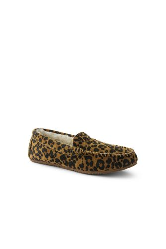 Women's Suede Moccasin Slippers in Leopard Print