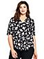 Women's Plus Ponté Print Split-neck Top