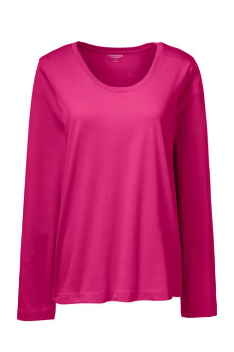 Women's Tall Long Sleeve T-shirt Supima Cotton Scoop Neck