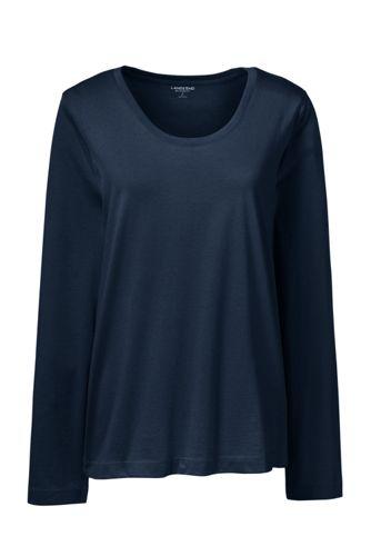 Le T-Shirt Supima Décolleté à Manches Longues, Femme Stature Petite