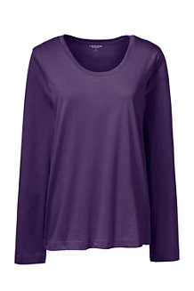 Le T-Shirt Supima Décolleté à Manches Longues, Femme