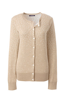 Women's Fine Gauge Supima Dotty Jacquard Cardigan