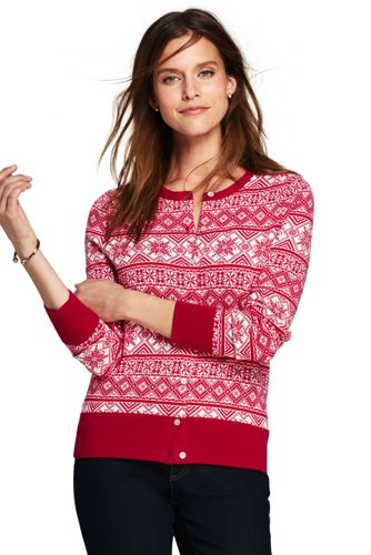 Women's Supima Cotton Fair Isle Cardigan Sweater from Lands' End