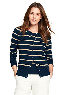 Women's Fine Gauge Supima Striped Cardigan