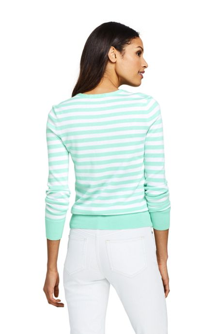 Women's Tall Supima Cardigan Stripe Sweater