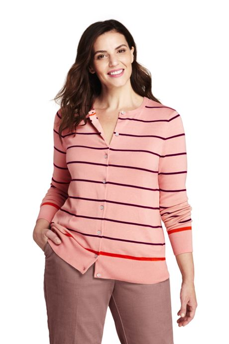 Women's Plus Size Supima Cardigan Stripe Sweater