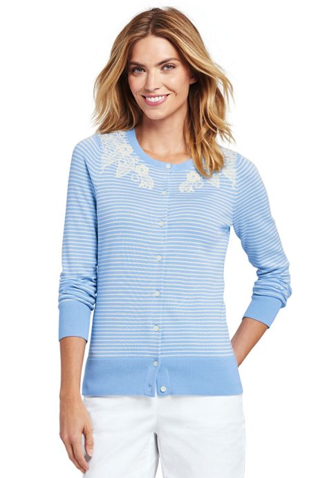 Women's Supima Cotton Embroidered Cardigan Sweater