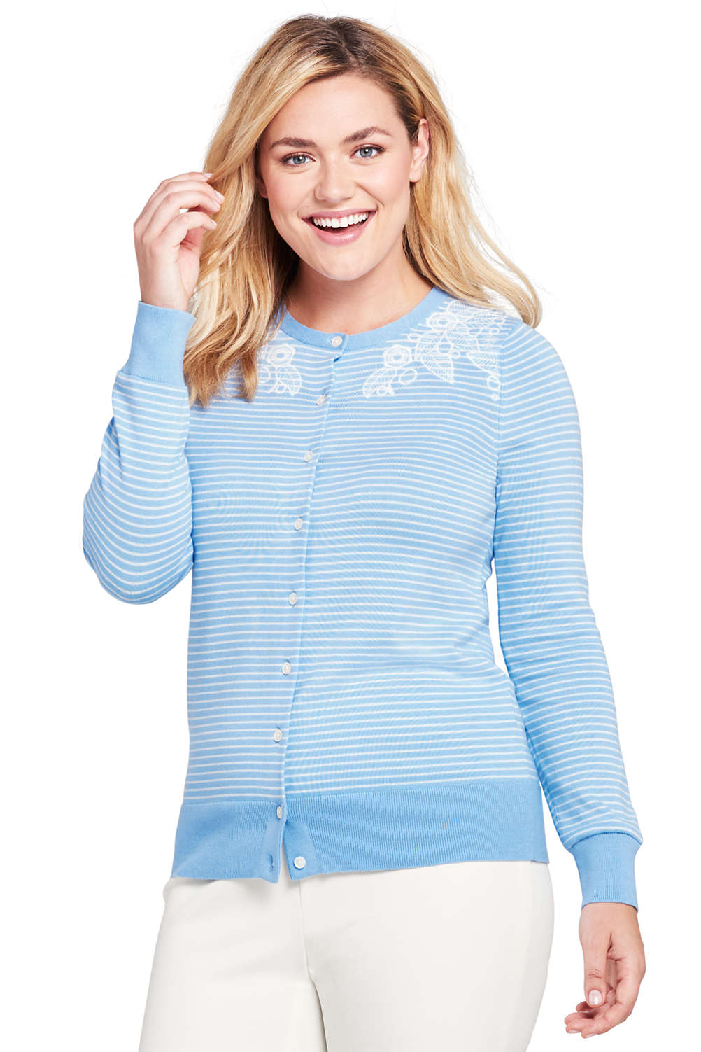 1778f21009c Women s Plus Size Supima Cotton Embroidered Cardigan Sweater from Lands  End