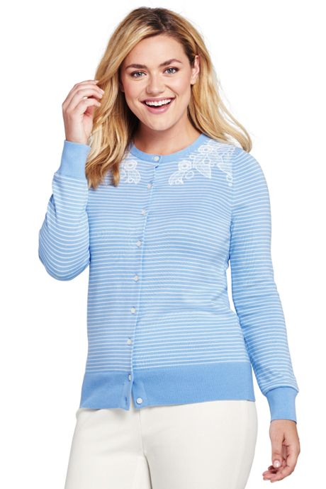 Women's Plus Size Supima Cotton Embroidered Cardigan Sweater