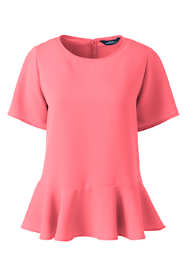 Women's Plus Size Short Sleeve Ruffle Hem Crepe Blouse