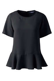 Women's Short Sleeve Ruffle Hem Crepe Blouse