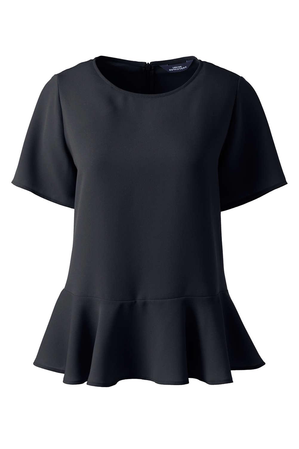 b3d6241379a78 Women s Plus Size Short Sleeve Ruffle Hem Crepe Blouse from Lands  End