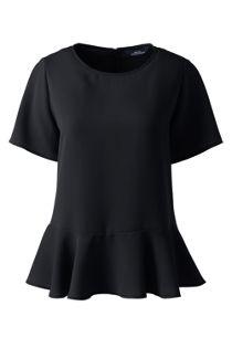 Women's Short Sleeve Ruffle Hem Crepe Blouse
