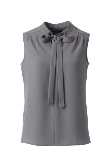 Women's Plus Size Sleeveless Tie Neck Crepe Blouse