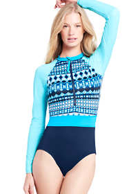 Women's Long Sleeve Half Zip One Piece Swimsuit