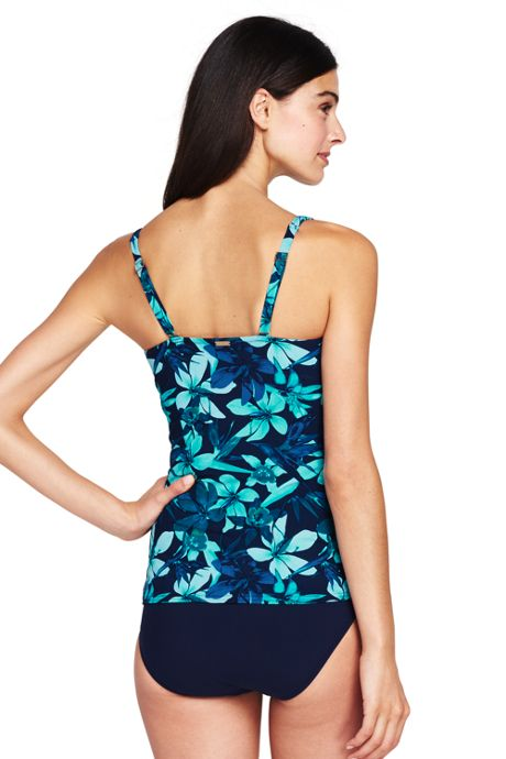 Women's DDD-Cup Shaping Scoopneck Tankini Top with Tummy Control