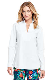 Women's Poplin V-neck Tunic Top