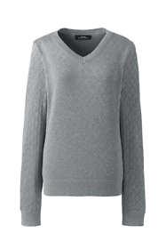 Women's Cotton Modal Diamond Texture V-neck Sweater