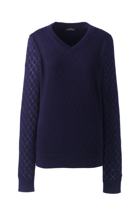 Women Plus Size Cotton Modal Diamond Texture V-neck Sweater