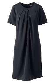 Women's Petite Pleat Neck Dress