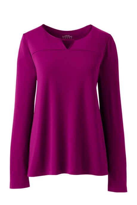 Women's Crepe Jersey Trimmed Notch Neck Top