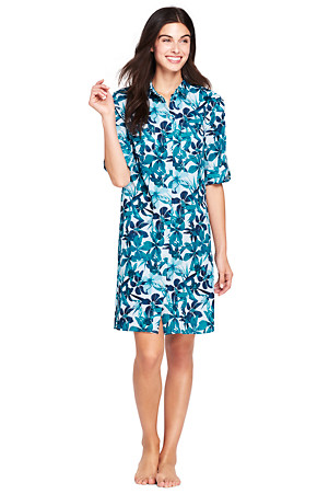 707f8061f9 Women's Crinkle Shirtdress Cover-up | Lands' End