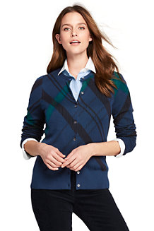 Women's Fine Gauge Supima Plaid Cardigan
