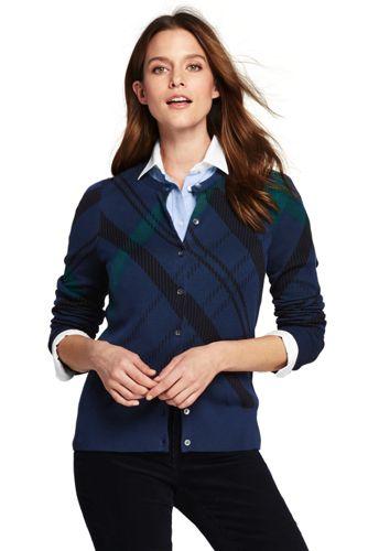Le Cardigan Fines Mailles Supima Écossais, Femme Stature Standard