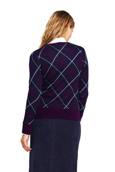 Women's Supima Cotton Plaid Cardigan Sweater