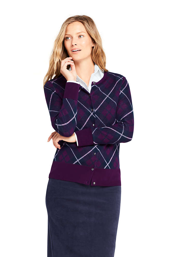 Women's Supima Cotton Plaid Cardigan Sweater, Front